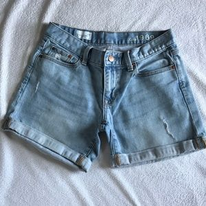 GAP Sexy Boyfriend distressed light jean shorts.
